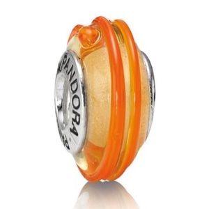 Pandora Murano Glass Bead Gold Orange Swirl